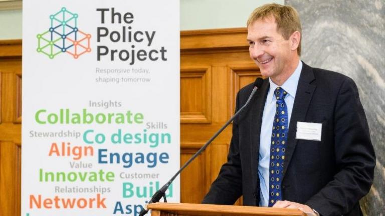 Andrew Kibblewhite, Chief Executive of DPMC, speaking at Policy Project event