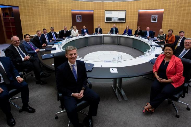 Cabinet Ministers and Secretary of Cabinet at the Cabinet table in the Beehive