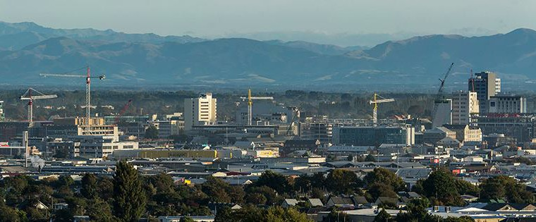 Christchurch city landscape showing rebuild scene.