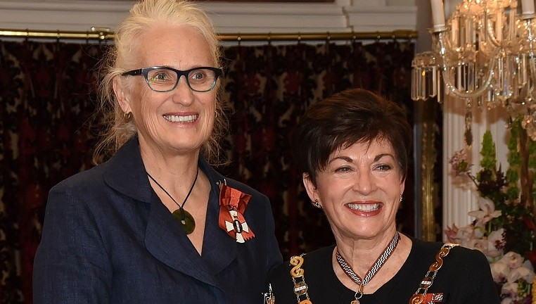 Rt Hon Dame Patsy Reddy, Governor-General of New Zealand, investing Dame Jane Campion with her insignia at Government House Wellington