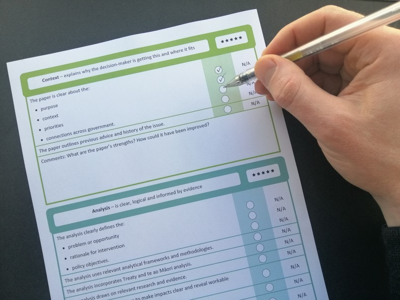A policy practitioner uses the Policy Quality Framework's paper scoring template