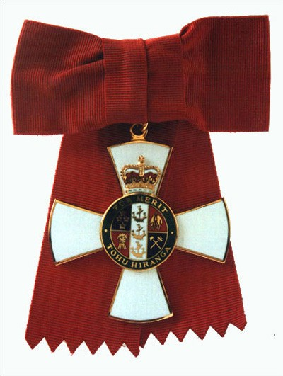 Badge of a Companion of the New Zealand Order of Merit (on ribbon bow)