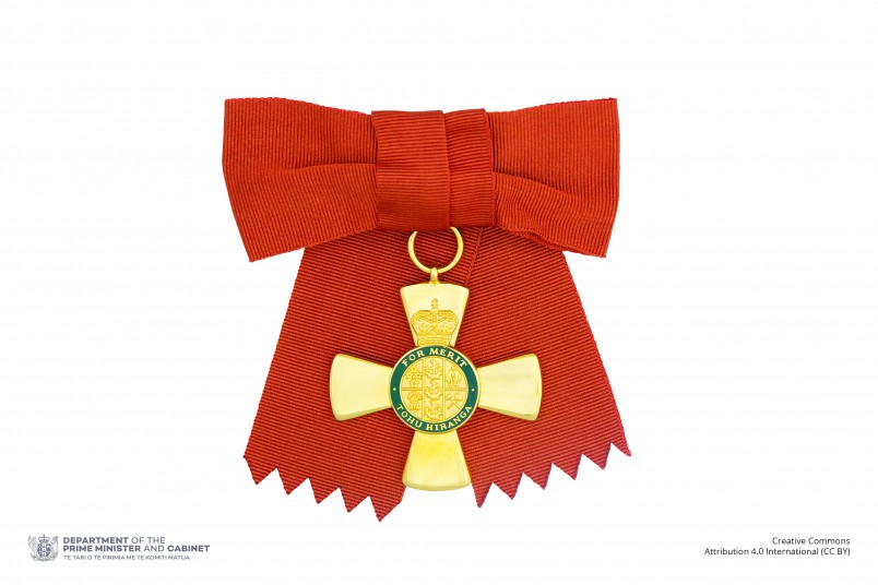 Insignia of an Officer of the New Zealand Order of Merit (on ribbon bow)