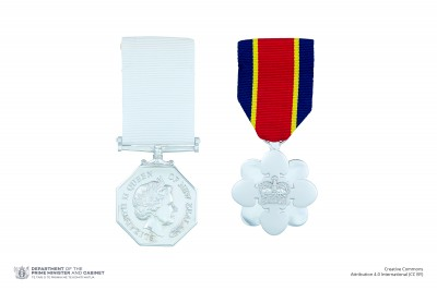 The full-size New Zealand Antarctic Medal on ribbon shown alongside the full-size New Zealand Distinguished Service Decoration on ribbon