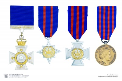 Composite image of the full-size New Zealand Bravery Awards insignia on ribbons