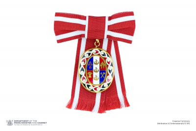 Badge of a Member of the Order of New Zealand (on ribbon bow)