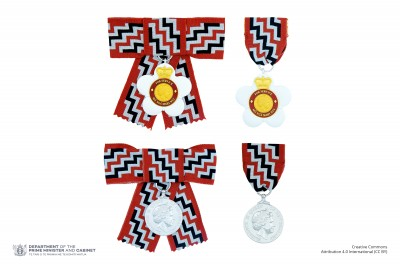 Composite image showing the full-size badge of a Companion of the Queen's Service Order on both ribbon and bow configurations, alongside the associated Queen's Service Medal also depicted on both ribbon and bow configurations